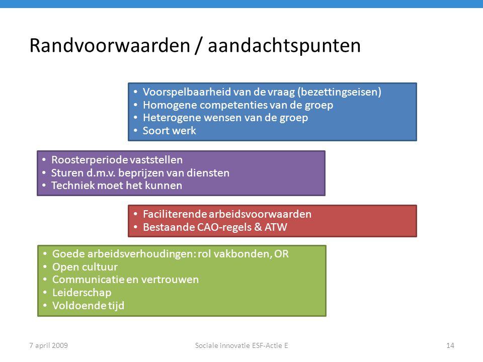 7 april 2009Sociale innovatie ESF-Actie E14 Randvoorwaarden / aandachtspunten Voorspelbaarheid van de vraag (bezettingseisen) Homogene competenties va