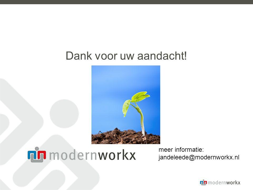 Dank voor uw aandacht! meer informatie: jandeleede@modernworkx.nl