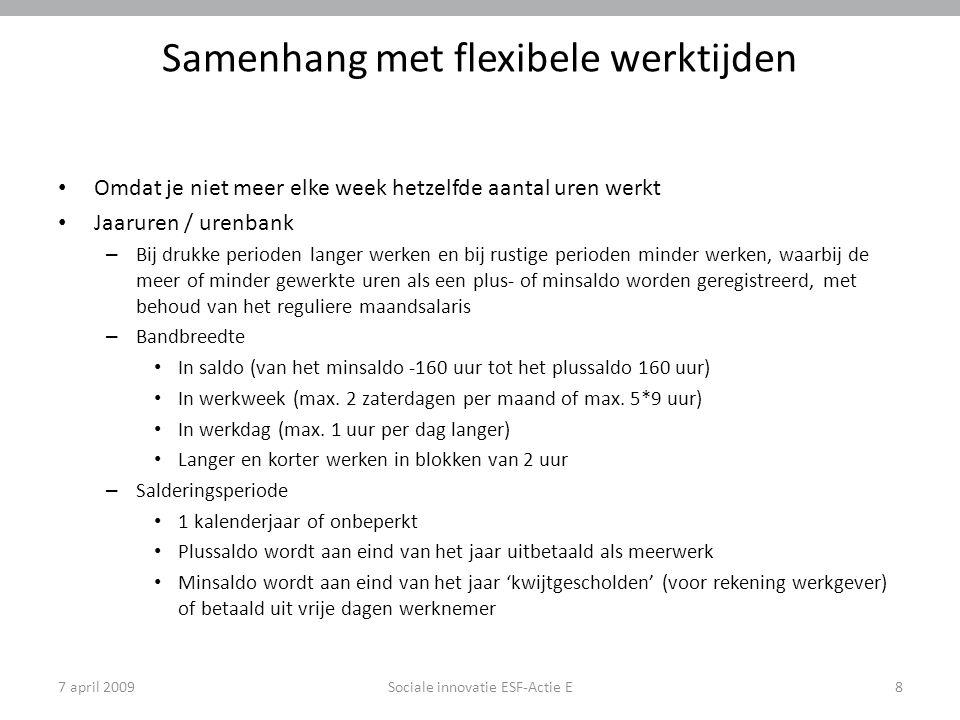 7 april 2009Sociale innovatie ESF-Actie E8 Samenhang met flexibele werktijden Omdat je niet meer elke week hetzelfde aantal uren werkt Jaaruren / uren