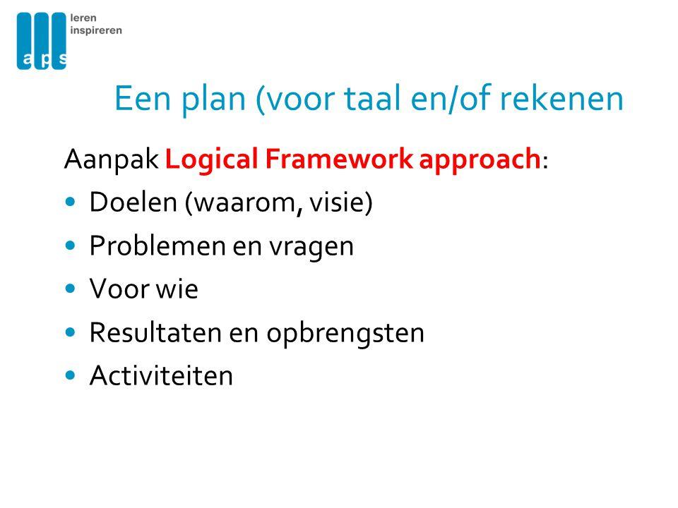 Een plan (voor taal en/of rekenen Aanpak Logical Framework approach: Doelen (waarom, visie) Problemen en vragen Voor wie Resultaten en opbrengsten Act