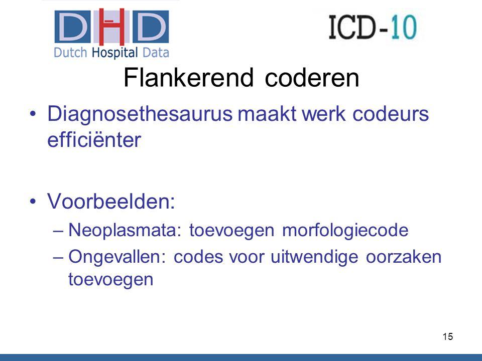 Flankerend coderen Diagnosethesaurus maakt werk codeurs efficiënter Voorbeelden: –Neoplasmata: toevoegen morfologiecode –Ongevallen: codes voor uitwen