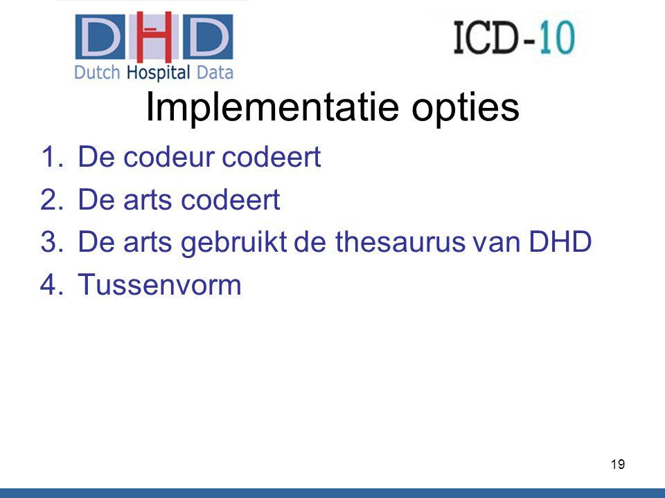 Implementatie opties 1.De codeur codeert 2.De arts codeert 3.De arts gebruikt de thesaurus van DHD 4.Tussenvorm 19