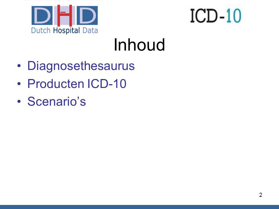 Inhoud Diagnosethesaurus Producten ICD-10 Scenario's 2
