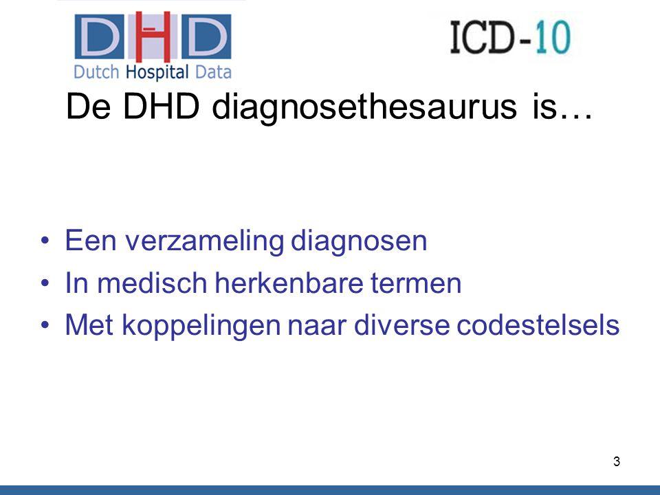 De DHD diagnosethesaurus is… Een verzameling diagnosen In medisch herkenbare termen Met koppelingen naar diverse codestelsels 3