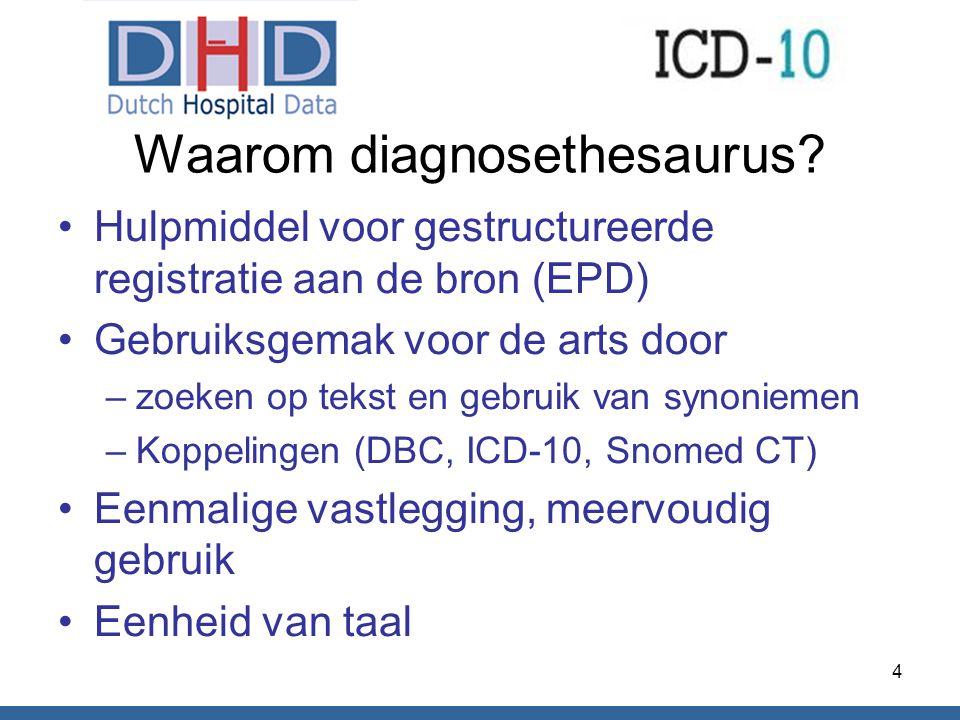 Waarom diagnosethesaurus? Hulpmiddel voor gestructureerde registratie aan de bron (EPD) Gebruiksgemak voor de arts door –zoeken op tekst en gebruik va