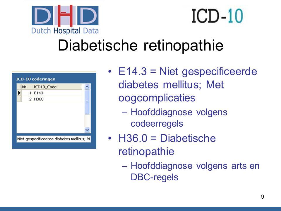 Diabetische retinopathie E14.3 = Niet gespecificeerde diabetes mellitus; Met oogcomplicaties –Hoofddiagnose volgens codeerregels H36.0 = Diabetische r
