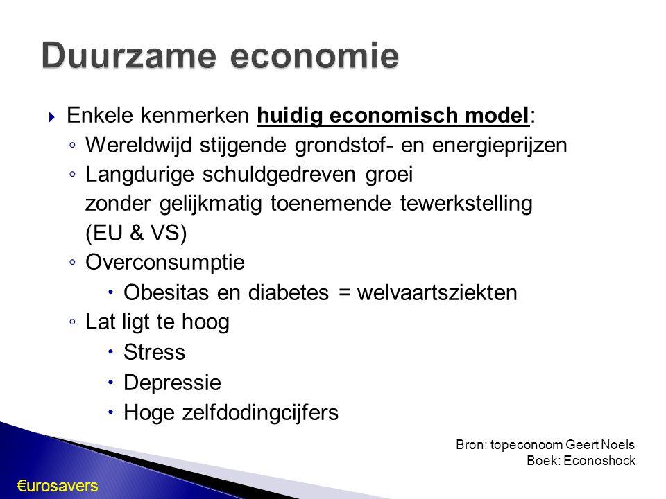  Enkele kenmerken huidig economisch model: ◦ Wereldwijd stijgende grondstof- en energieprijzen ◦ Langdurige schuldgedreven groei zonder gelijkmatig t