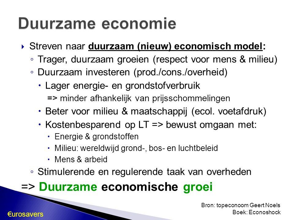  Streven naar duurzaam (nieuw) economisch model: ◦ Trager, duurzaam groeien (respect voor mens & milieu) ◦ Duurzaam investeren (prod./cons./overheid)  Lager energie- en grondstofverbruik => minder afhankelijk van prijsschommelingen  Beter voor milieu & maatschappij (ecol.
