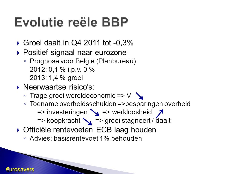  Rente: laag  M3: licht stijgend  Kredietverlening door ECB: hoog  Kredietverlening aan gezinnen & bedrijven: dalend  Overheidsschuld: hoog, maar licht dalend => Economie nog niet hersteld => Rentevoet behouden op 1 % …mits:  degelijk Europees toezicht op de financiële instellingen  uitvoeren begrotingspact  EN duurzaam economisch en financieel beleid Conclusie €urosavers