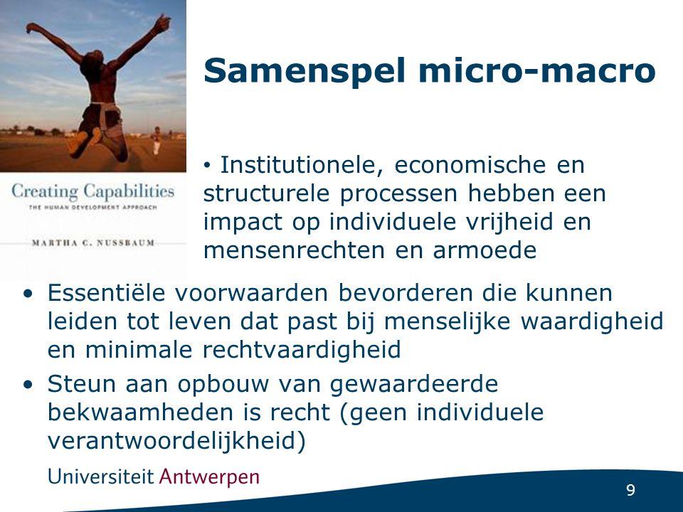 9 Samenspel micro-macro Essentiële voorwaarden bevorderen die kunnen leiden tot leven dat past bij menselijke waardigheid en minimale rechtvaardigheid