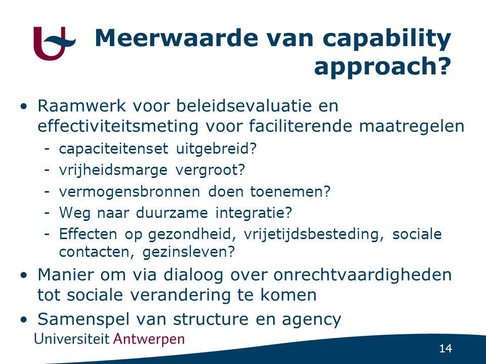 14 Meerwaarde van capability approach? Raamwerk voor beleidsevaluatie en effectiviteitsmeting voor faciliterende maatregelen -capaciteitenset uitgebre
