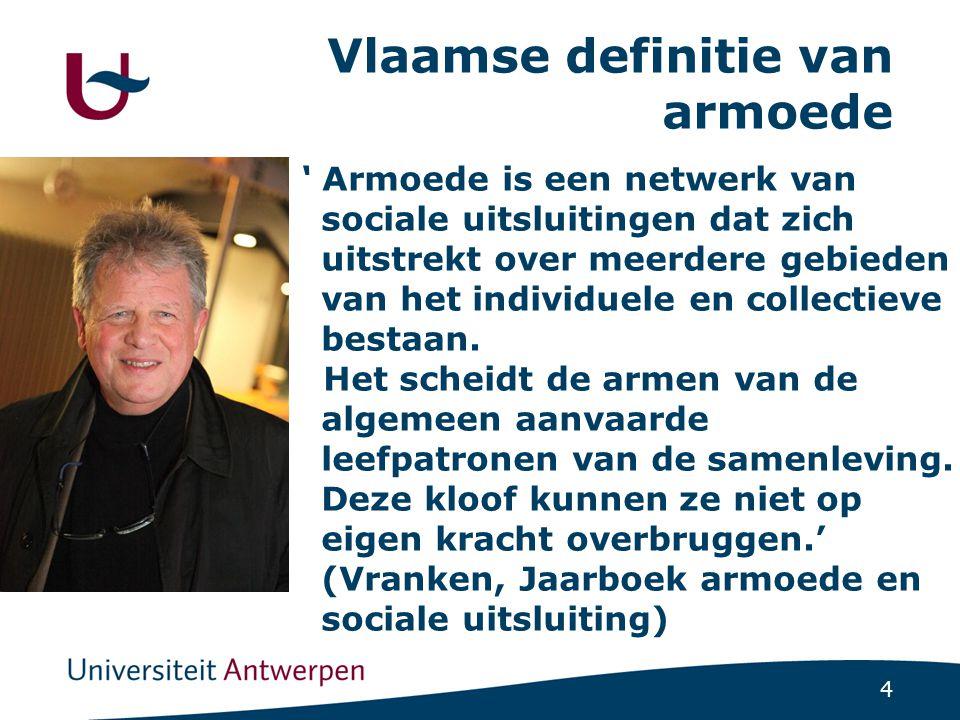 4 Vlaamse definitie van armoede ' Armoede is een netwerk van sociale uitsluitingen dat zich uitstrekt over meerdere gebieden van het individuele en co