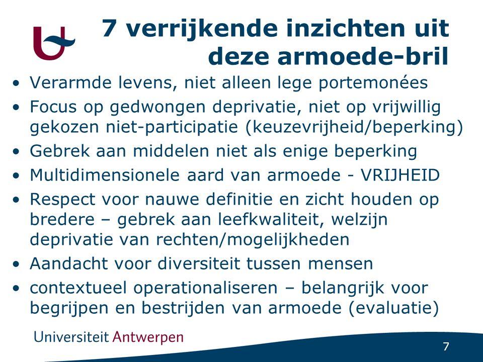 7 7 verrijkende inzichten uit deze armoede-bril Verarmde levens, niet alleen lege portemonées Focus op gedwongen deprivatie, niet op vrijwillig gekoze