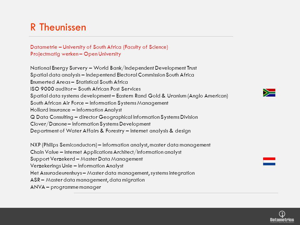 R Theunissen Datametrie – University of South Africa (Faculty of Science) Projectmatig werken – Open University National Energy Survery – World Bank/I