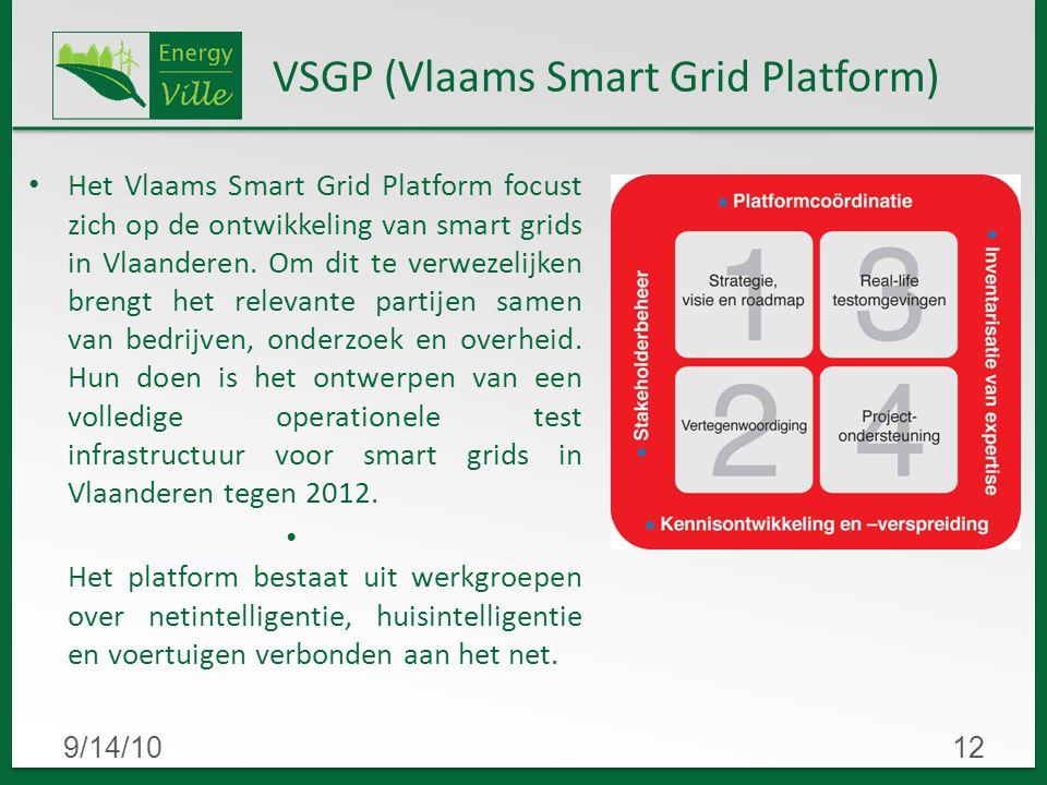 9/14/1012 VSGP (Vlaams Smart Grid Platform) Het Vlaams Smart Grid Platform focust zich op de ontwikkeling van smart grids in Vlaanderen.