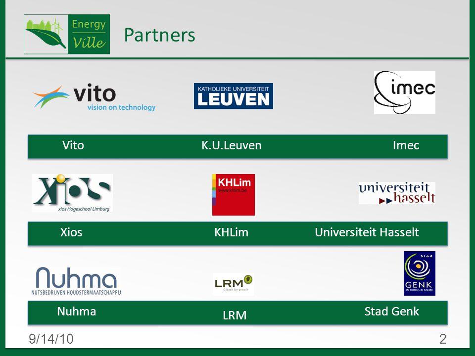 9/14/102 Partners VitoK.U.Leuven Nuhma XiosKHLim LRM Universiteit Hasselt Stad Genk Imec