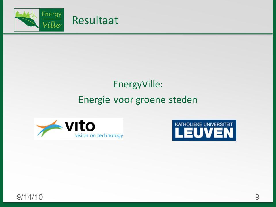 9/14/109 Resultaat EnergyVille: Energie voor groene steden
