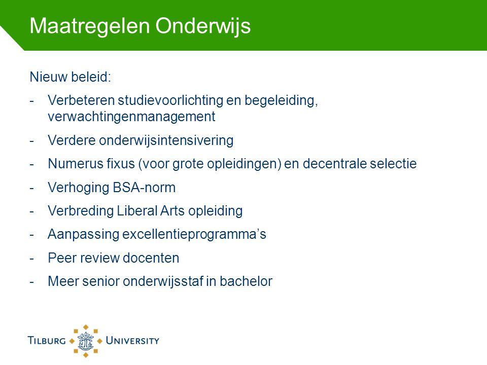 Maatregelen Onderwijs Nieuw beleid: -Verbeteren studievoorlichting en begeleiding, verwachtingenmanagement -Verdere onderwijsintensivering -Numerus fi