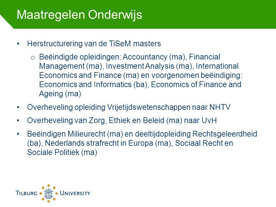 Maatregelen Onderwijs Herstructurering van de TiSeM masters o Beëindigde opleidingen: Accountancy (ma), Financial Management (ma), Investment Analysis
