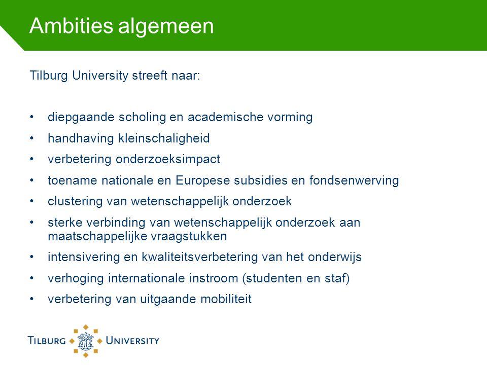 Ambities algemeen Tilburg University streeft naar: diepgaande scholing en academische vorming handhaving kleinschaligheid verbetering onderzoeksimpact