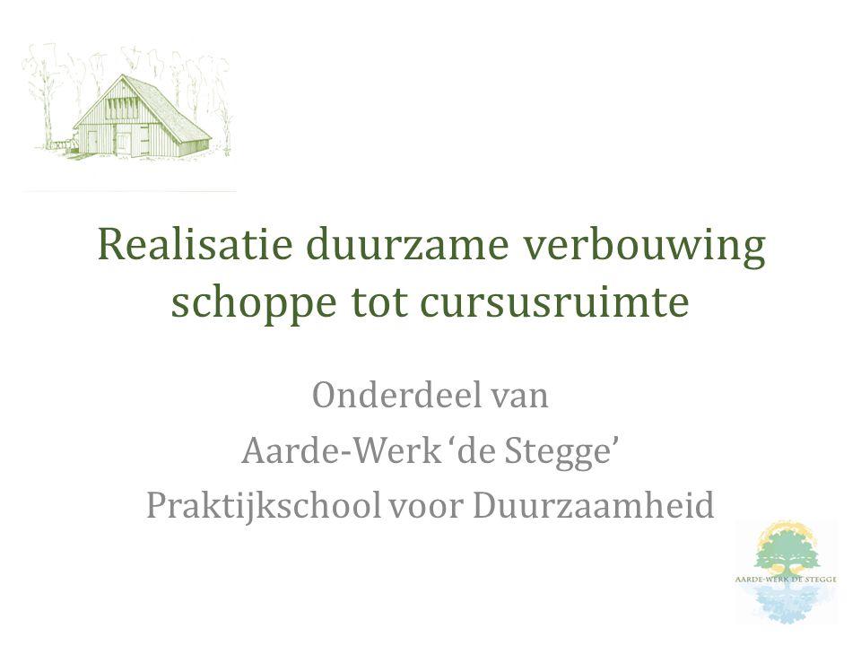 Realisatie duurzame verbouwing schoppe tot cursusruimte Onderdeel van Aarde-Werk 'de Stegge' Praktijkschool voor Duurzaamheid