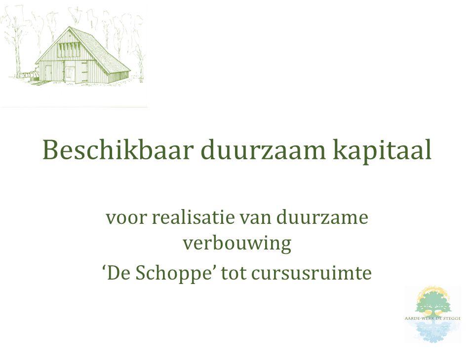 voor realisatie van duurzame verbouwing 'De Schoppe' tot cursusruimte Beschikbaar duurzaam kapitaal