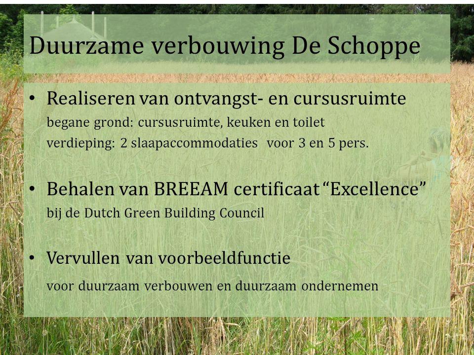 Duurzame verbouwing De Schoppe Realiseren van ontvangst- en cursusruimte begane grond: cursusruimte, keuken en toilet verdieping: 2 slaapaccommodaties voor 3 en 5 pers.