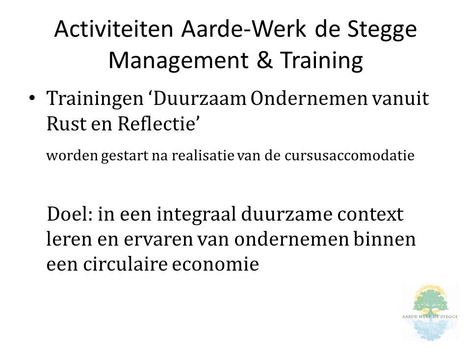 Activiteiten Aarde-Werk de Stegge Management & Training Trainingen 'Duurzaam Ondernemen vanuit Rust en Reflectie' worden gestart na realisatie van de cursusaccomodatie Doel: in een integraal duurzame context leren en ervaren van ondernemen binnen een circulaire economie