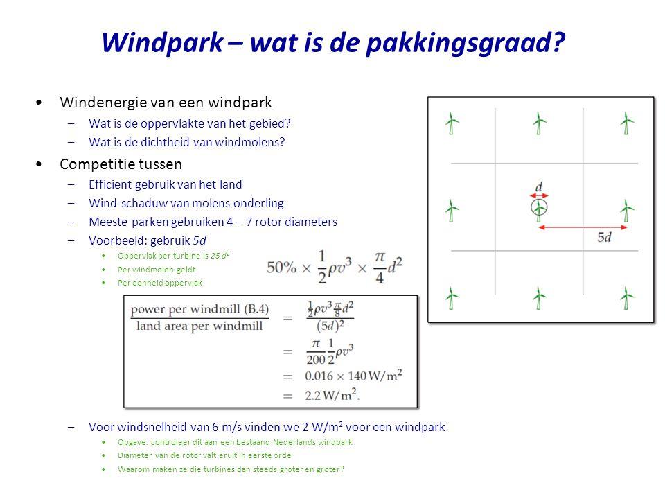 Windenergie van een windpark –Wat is de oppervlakte van het gebied.