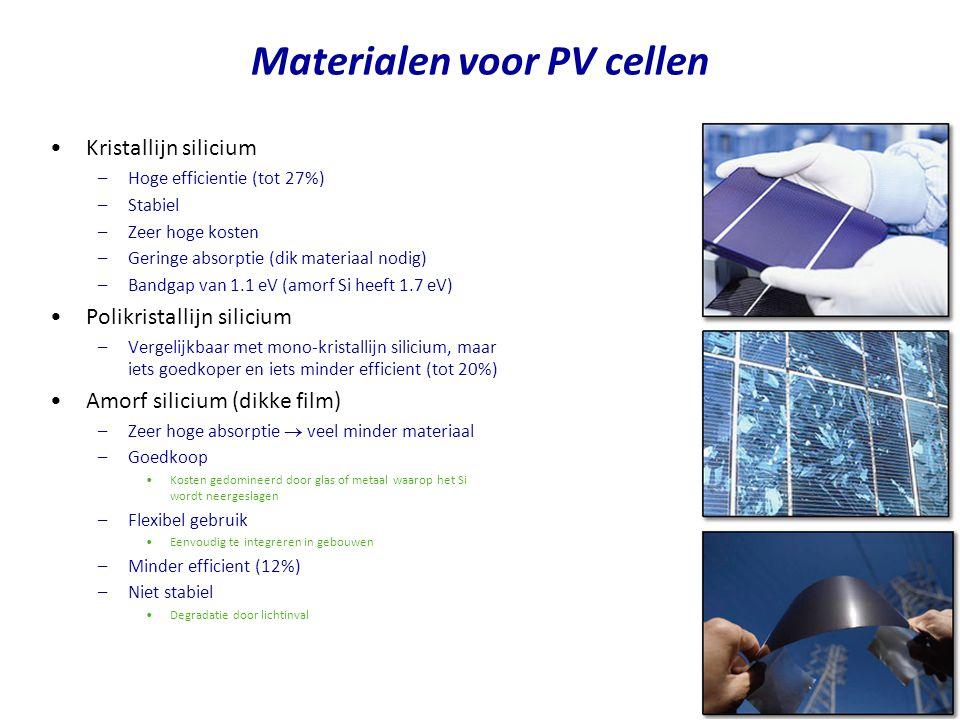 Kristallijn silicium –Hoge efficientie (tot 27%) –Stabiel –Zeer hoge kosten –Geringe absorptie (dik materiaal nodig) –Bandgap van 1.1 eV (amorf Si heeft 1.7 eV) Polikristallijn silicium –Vergelijkbaar met mono-kristallijn silicium, maar iets goedkoper en iets minder efficient (tot 20%) Amorf silicium (dikke film) –Zeer hoge absorptie  veel minder materiaal –Goedkoop Kosten gedomineerd door glas of metaal waarop het Si wordt neergeslagen –Flexibel gebruik Eenvoudig te integreren in gebouwen –Minder efficient (12%) –Niet stabiel Degradatie door lichtinval Materialen voor PV cellen