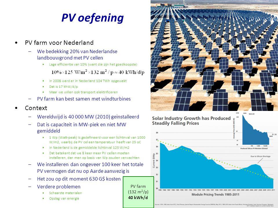 PV farm voor Nederland –We bedekking 20% van Nederlandse landbouwgrond met PV cellen Lage efficientie van 10% (want die zijn het goedkoopste) In 2008 werd er in Nederland 104 TWh opgewekt Dat is 17 khW/d/p Maar we willen ook transport elektrificeren –PV farm kan best samen met windturbines Context –Wereldwijd is 40 000 MW (2010) geinstalleerd –Dat is capaciteit in MW-piek en niet MW gemiddeld 1 Wp (Watt-peak) is gedefineerd voor een lichtinval van 1000 W/m2, waarbij de PV cel een temperatuur heeft van 25 oC In Nederland is de gemiddelde lichtinval 125 W/m2 Dat betekent dat we 8 keer meer PV cellen moeten installeren, dan men op basis van Wp zouden verwachten –We installeren dan ongeveer 100 keer het totale PV vermogen dat nu op Aarde aanwezig is –Het zou op dit moment 630 G$ kosten –Verdere problemen Schaarste materialen Opslag van energie PV oefening PV farm (132 m 2 /p) 40 kWh/d