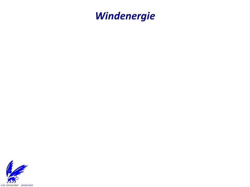 Status on-shore windenergie in Nederland (december 2009) –1879 on-shore wind turbines met 1993 MW capaciteit Capaciteit is niet hetzelfde als gemiddelde energieproductie –Grootste park staat in Eemshaven, Groningen: 204 MW 21 Vestas V90 3 MW (GroWind) 47 Enercon E82 3 MW (Westereems) –Andere windparken Delfzijl-zuid (72 MW) Lelystad (46 MW) Terneuzen, Koegorspolder, Biddinghuizen Meest windenerie wordt in Flevoland geproduceerd Status off-shore windenergie in Nederland –Egmond aan Zee Offshore Wind Farm (2006) 36 Vestas V90 3 MW (108 MW) Kosten Meuro 272 (Shell en Nuon) –Princess Amalia Wind Farm bij Ijmuiden 60 Vestas V80 2 MW (120 MW) Kosten MEuro 522.3 (Econcern en Eneco) Status windenergie in NL