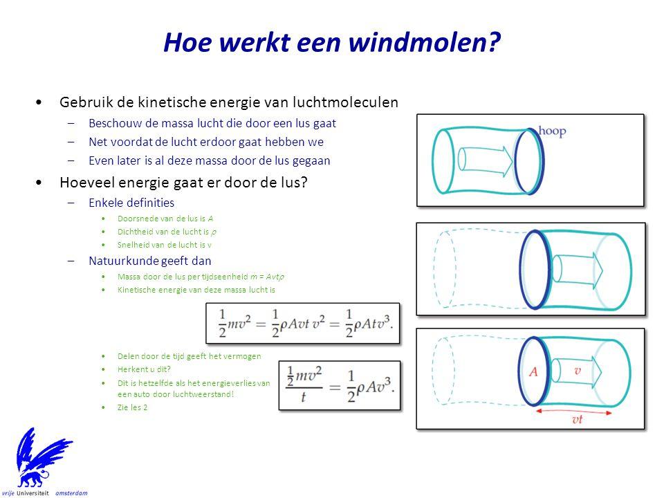 On-shore windenergie in Nederland –Ruwe schatting Oppervlakte van Nederland 41 543 km2, waarvan 33 719 km2 land Aantal personen 16.7 miljoen, dus 2030 m2 per persoon Dat levert –In onze favoriete eenheden is dat 4 kW/p = 4 kW * 24 h/d/p = 96 kWh/d/p Iets meer realistisch voor on-shore –Neem aan dat we 10% van Nederland volbouwen Dat is 1/3 van alle weilanden.