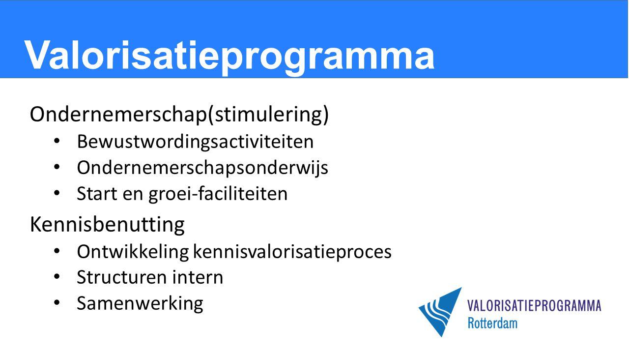 Valorisatieprogramma Ondernemerschap(stimulering) Bewustwordingsactiviteiten Ondernemerschapsonderwijs Start en groei-faciliteiten Kennisbenutting Ontwikkeling kennisvalorisatieproces Structuren intern Samenwerking