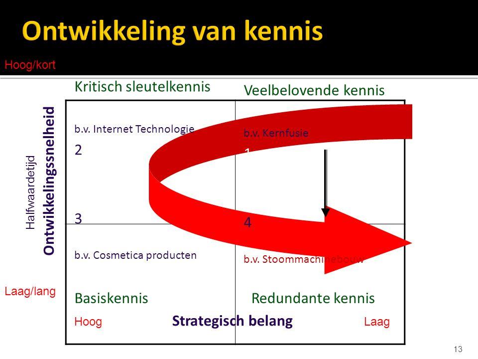 13 Veelbelovende kennis b.v. Kernfusie 1 4 b.v. Stoommachinebouw Redundante kennis Kritisch sleutelkennis b.v. Internet Technologie 2 3 b.v. Cosmetica
