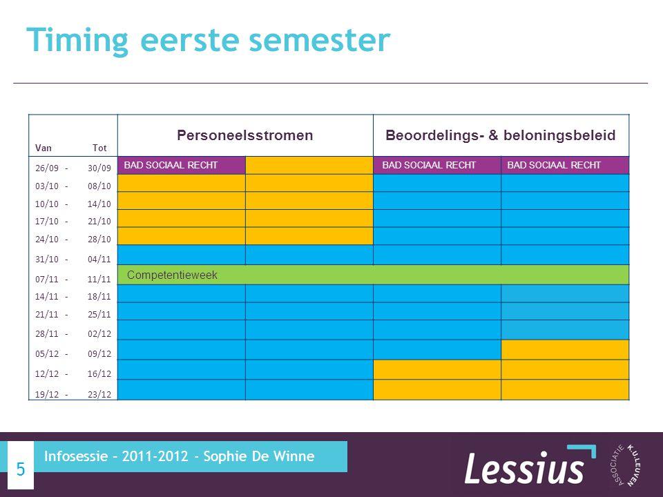 Timing eerste semester 5 Infosessie – 2011-2012 - Sophie De Winne Van Tot PersoneelsstromenBeoordelings- & beloningsbeleid 26/09-30/09 BAD SOCIAAL RECHT 03/10-08/10 10/10-14/10 17/10-21/10 24/10-28/10 31/10-04/11 07/11-11/11 Competentieweek 14/11-18/11 21/11-25/11 28/11-02/12 05/12-09/12 12/12-16/12 19/12-23/12