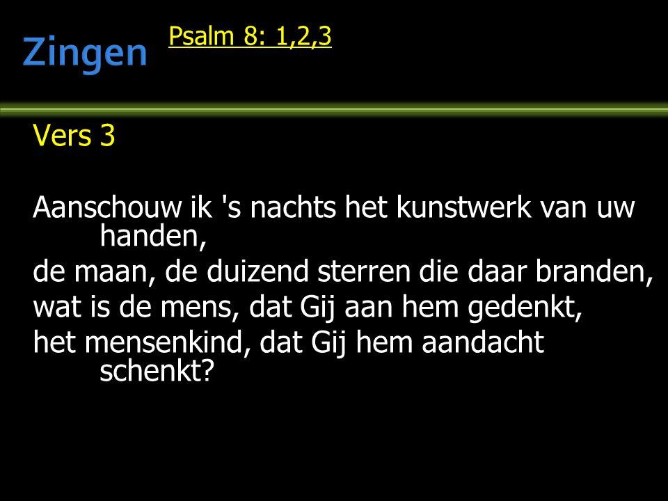 Psalm 8: 1,2,3 Vers 3 Aanschouw ik 's nachts het kunstwerk van uw handen, de maan, de duizend sterren die daar branden, wat is de mens, dat Gij aan he