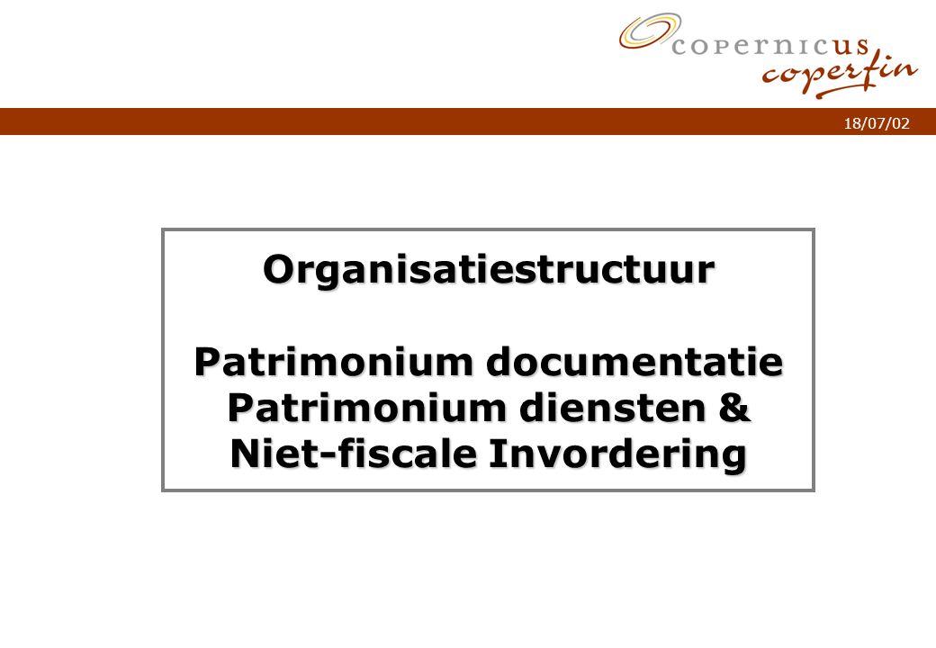 p. 1Titel van de presentatie 18/07/02 Organisatiestructuur Patrimonium documentatie Patrimonium diensten & Niet-fiscale Invordering