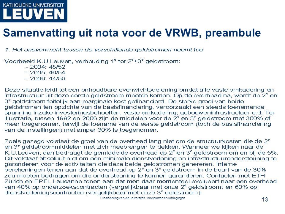Financiering van de universiteit : knelpunten en uitdagingen Samenvatting uit nota voor de VRWB, preambule 13
