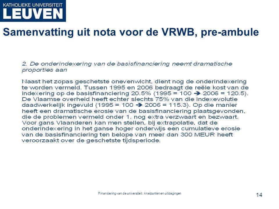 Financiering van de universiteit : knelpunten en uitdagingen Samenvatting uit nota voor de VRWB, pre-ambule 14