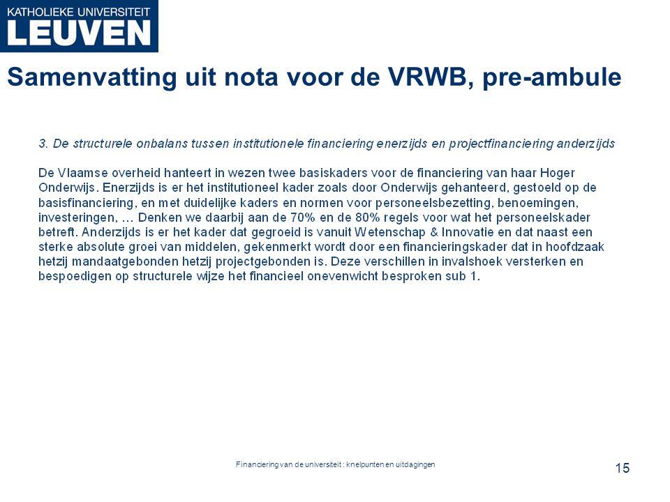 Financiering van de universiteit : knelpunten en uitdagingen Samenvatting uit nota voor de VRWB, pre-ambule 15