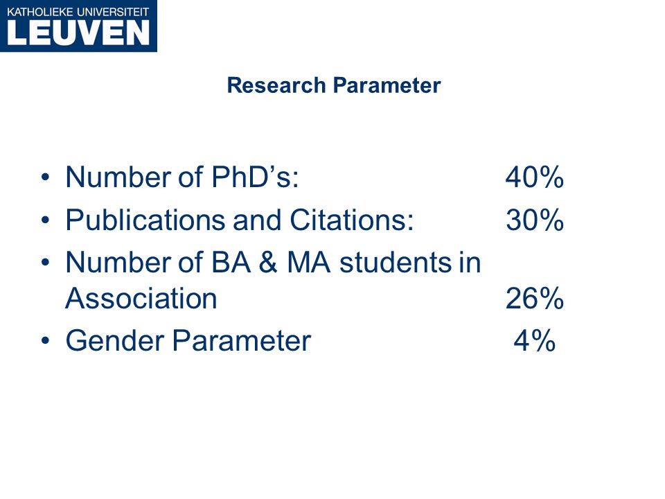 Research Parameter Number of PhD's: 40% Publications and Citations:30% Number of BA & MA students in Association26% Gender Parameter 4%
