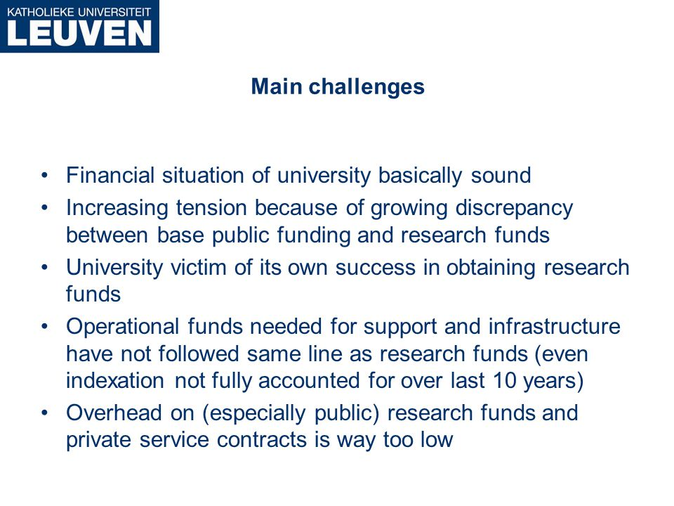 Financiering van de universiteit : knelpunten en uitdagingen REVENUES Increase since 1992 (=100) 194 260 292 359 381 131 142 210 50 100 150 200 250 300 350 400 929394959697989900010203040506 Own Sources Research Base Public Funding Total 100 10