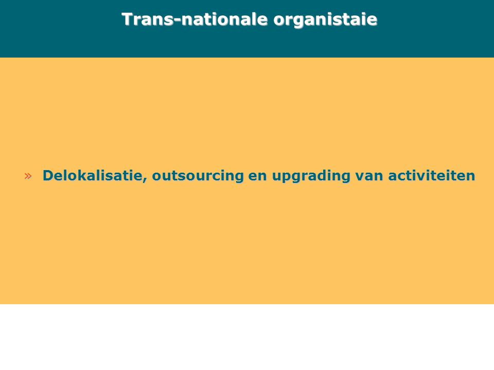 »Delokalisatie, outsourcing en upgrading van activiteiten Trans-nationale organistaie