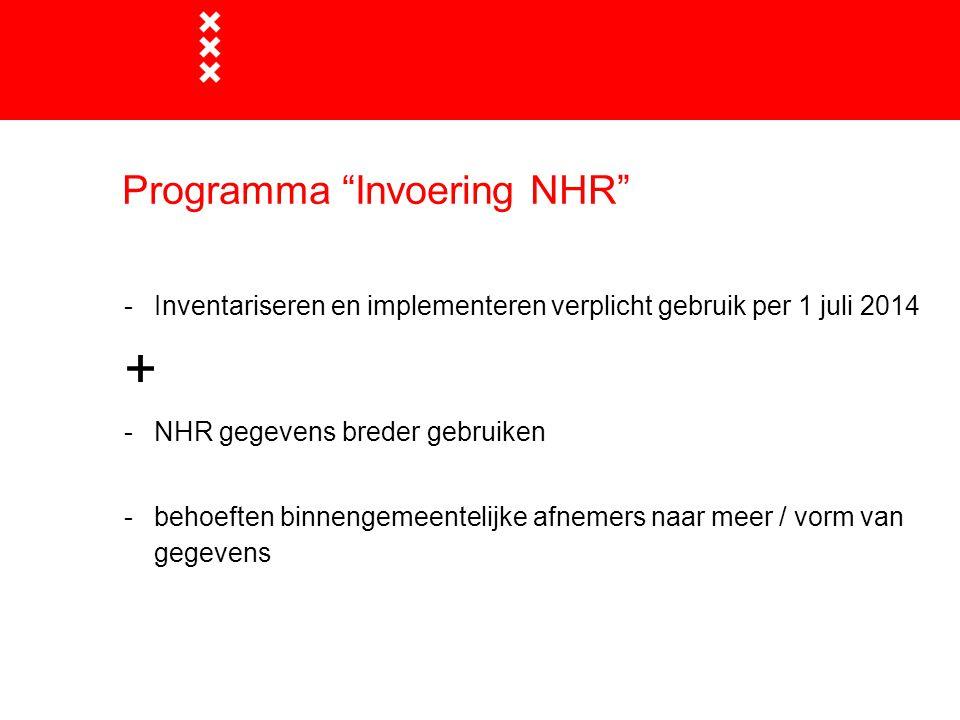 Programma Invoering NHR -Inventariseren en implementeren verplicht gebruik per 1 juli 2014 + -NHR gegevens breder gebruiken -behoeften binnengemeentelijke afnemers naar meer / vorm van gegevens