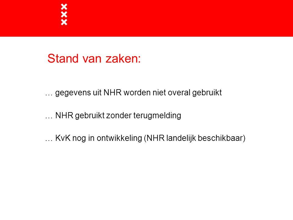 Stand van zaken: … gegevens uit NHR worden niet overal gebruikt … NHR gebruikt zonder terugmelding … KvK nog in ontwikkeling (NHR landelijk beschikbaar)