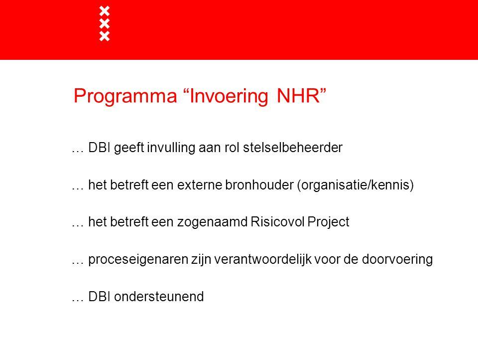 Programma Invoering NHR … DBI geeft invulling aan rol stelselbeheerder … het betreft een externe bronhouder (organisatie/kennis) … het betreft een zogenaamd Risicovol Project … proceseigenaren zijn verantwoordelijk voor de doorvoering … DBI ondersteunend
