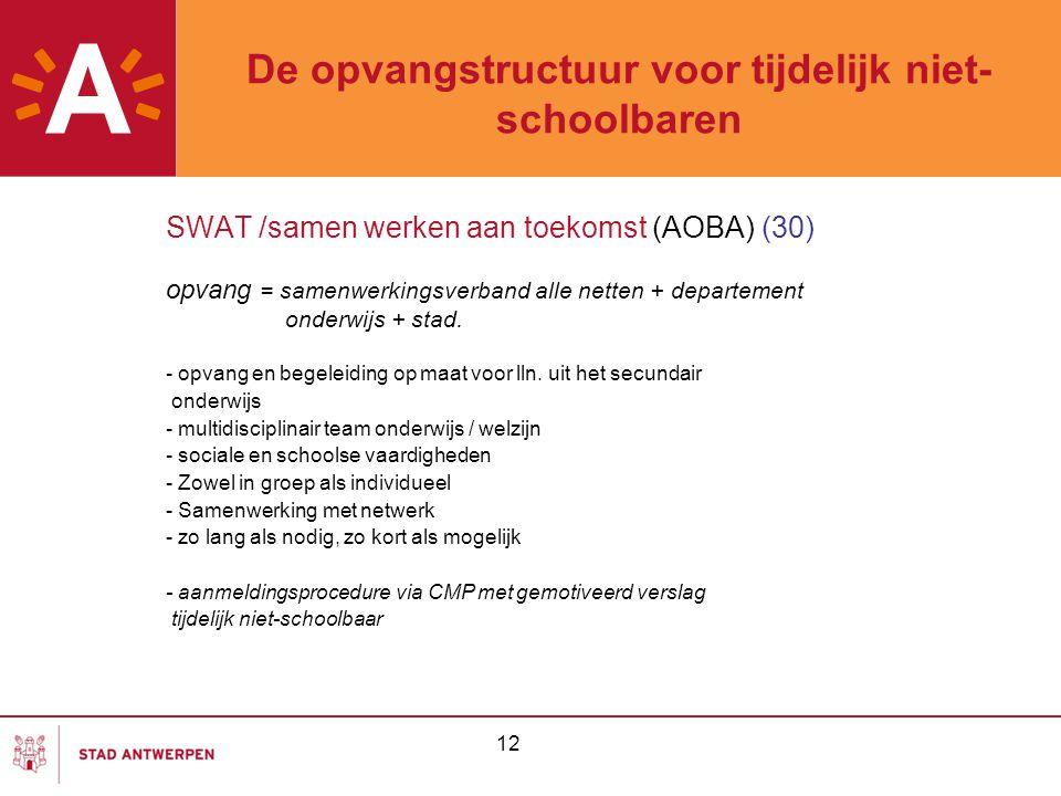 12 De opvangstructuur voor tijdelijk niet- schoolbaren SWAT /samen werken aan toekomst (AOBA) (30) opvang = samenwerkingsverband alle netten + departe