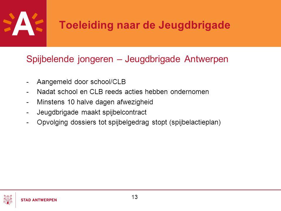 13 Toeleiding naar de Jeugdbrigade Spijbelende jongeren – Jeugdbrigade Antwerpen -Aangemeld door school/CLB -Nadat school en CLB reeds acties hebben o