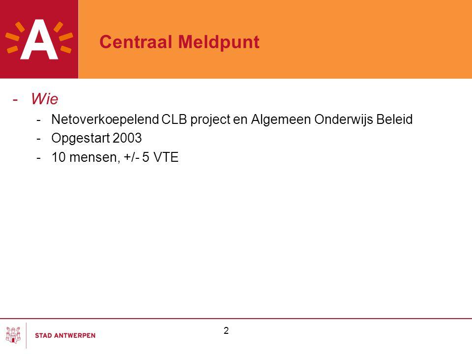 2 Centraal Meldpunt -Wie -Netoverkoepelend CLB project en Algemeen Onderwijs Beleid -Opgestart 2003 -10 mensen, +/- 5 VTE